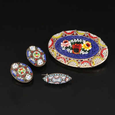Antique Micromosaic Brooch, Earrings and 800 Silver Pin