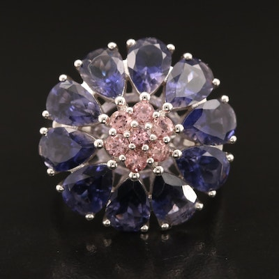 Sterling Iolite and Tourmaline Floral Ring
