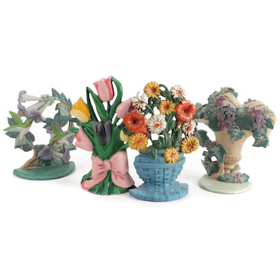 Cold Painted Cast Iron Floral and Hummingbird Form Doorstops