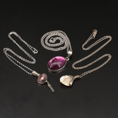 Sterling Necklaces Featuring Pearl, Amethyst and Tourmaline