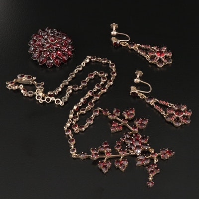 Vintage Garnet Necklace, Earrings and Brooch