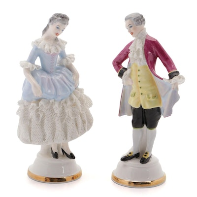 """English Floral China Co. """"Clare"""" and """"Charles"""" Dresden Lace Figurines"""