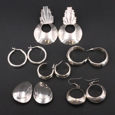 Sterling Earrings Featuring Mexican Hoop Earrings