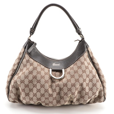 Gucci Abbey D-Ring Hobo Bag in GG Canvas and Brown Leather