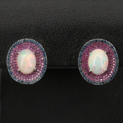 Sterling Opal, Ruby and Sapphire Pavé Halo Earrings