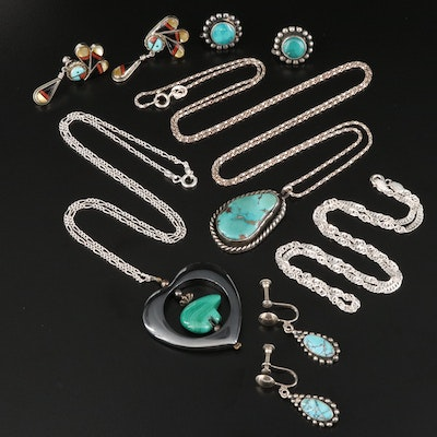 Southwestern Style Sterling Silver Turquoise and Gemstone Jewelry