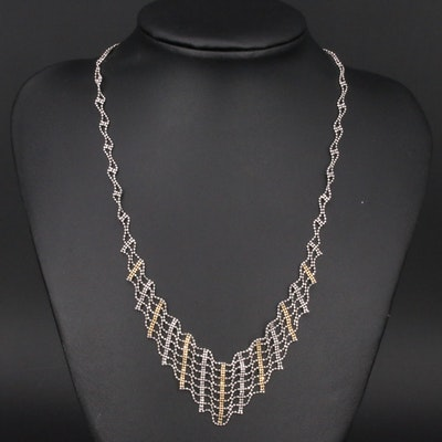 Sterling Bib Necklace with 14K Accents