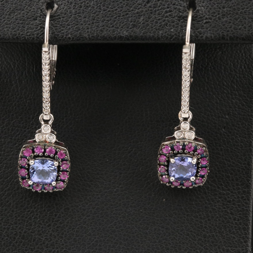 Sterling Earrings Including Tanzanite, Sapphires and Diamonds