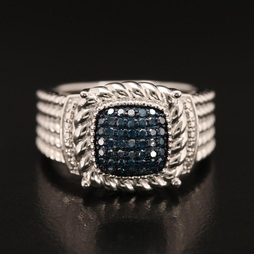 Sterling Pavé Blue Diamond Ring