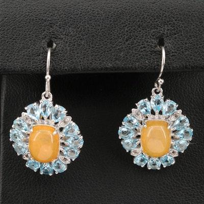 Sterling Opal and Topaz Drop Earrings
