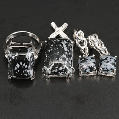 Sterling Grouping Including Topaz and Snowflake Obsidian