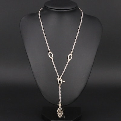 James Avery Sterling Wheat Chain Lariat Necklace