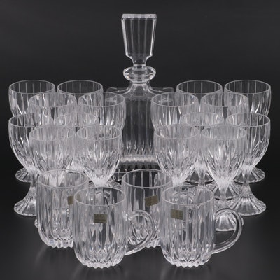 "Mikasa ""Park Lane"" Decanter and Glassware, Late 20th Century"