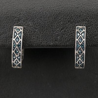 Sterling Colored Diamond Pavé Hoop Earrings