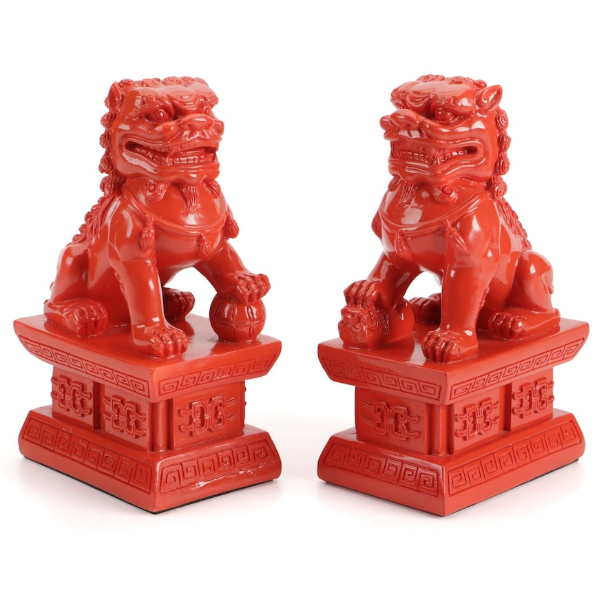 Chinese Red Composite Guardian Lion Statuettes