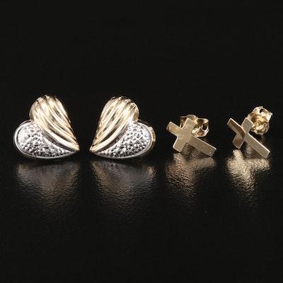 14K Heart and Cross Earrings