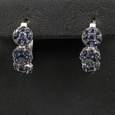 Sterling Silver Sapphire Hoop Earrings