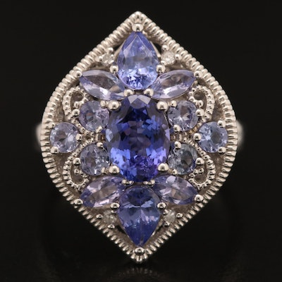 Sterling Tanzanite and Diamond Ring with Scrollwork Detail