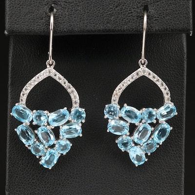 Sterling Silver Swiss Blue and White Topaz Drop Earrings