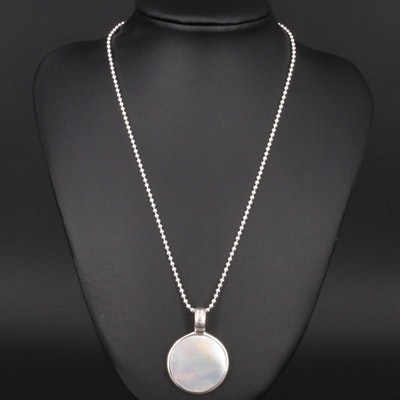 Sterling Silver Mother of Pearl Circular Pendant Necklace