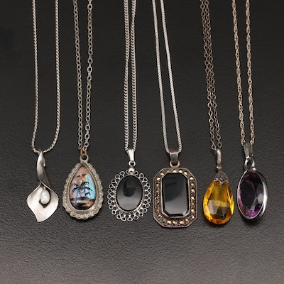 Sterling Necklaces Featuring Black Onyx, Marcasite and Pearl