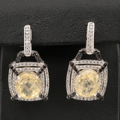 Sterling Common Opal, Spinel and Topaz Earrings