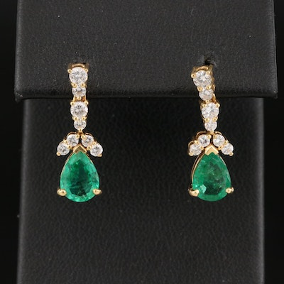 18K Emerald and Diamond Teardrop Earrings with 14K Clutches