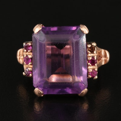 Vintage 14K Rose Gold Amethyst and Ruby Ring