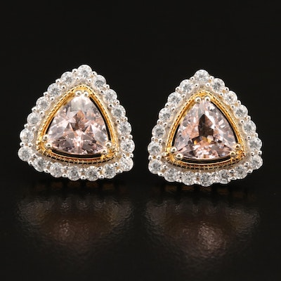 Sterling Silver Morganite and Zircon Halo Earrings