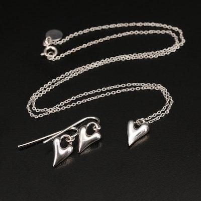Robert Lee Morris Studios Sterling Heart Pendant and Earrings Set