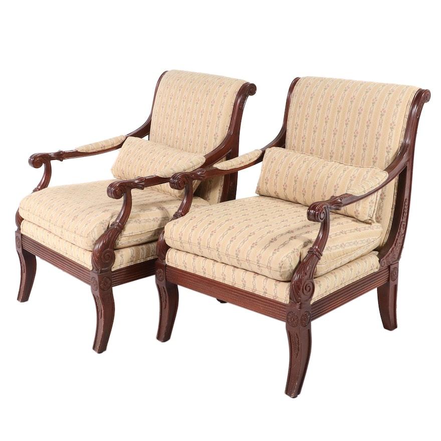 Pair of Ethan Allen Neoclassical Style Custom-Upholstered Beech Fauteuils