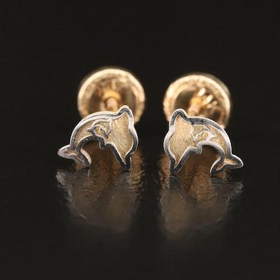 14K Children's Dolphin Stud Earrings
