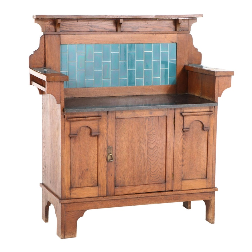 English Arts and Crafts Oak, Marble, and Ceramic Tile Washstand
