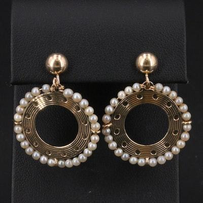 14K Pearl Circle Screw Back Earrings