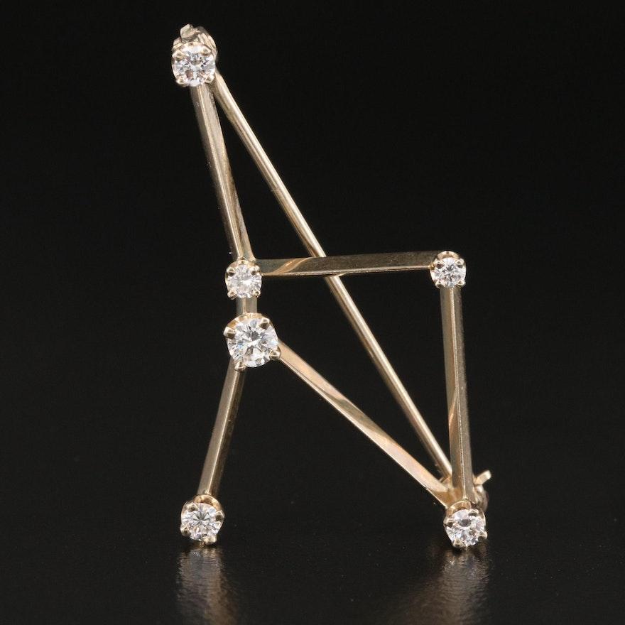 14K Diamond Cancer Constellation Brooch