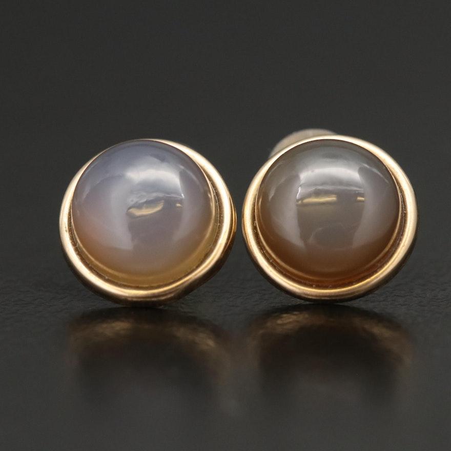 14K Chalcedony Stud Earrings