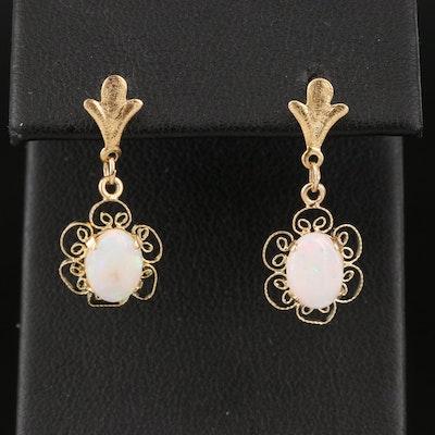 14K Opal Oval Earrings with Filigree Edges