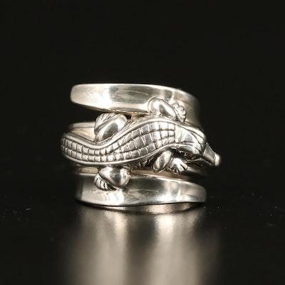 Barry Kieselstein-Cord Sterling Diamond Alligator Ring