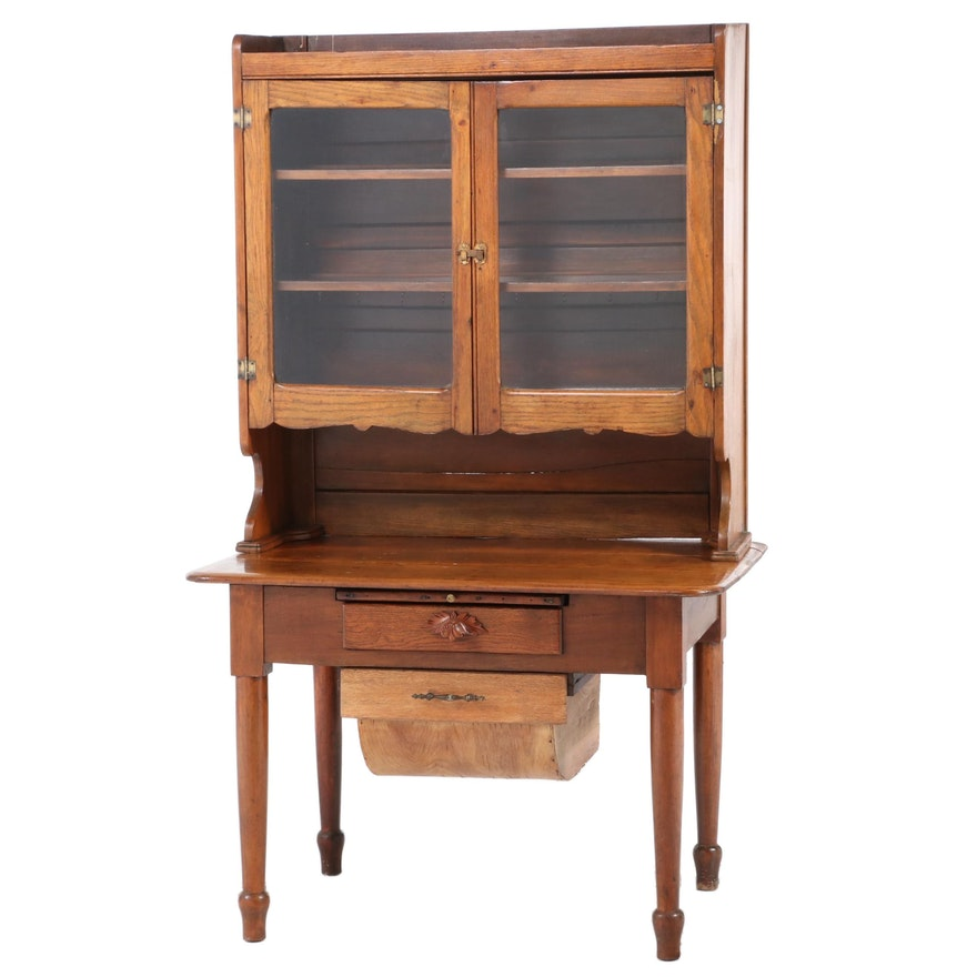 American Primitive Oak and Poplar Kitchen Cabinet, Late 19th/Early 20th Century