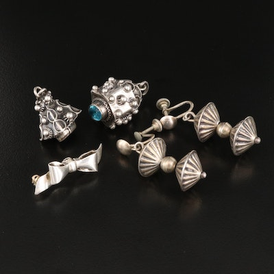 Vintage Sterling Earrings and Bow Pin with 800 Silver Cannetille Pendants