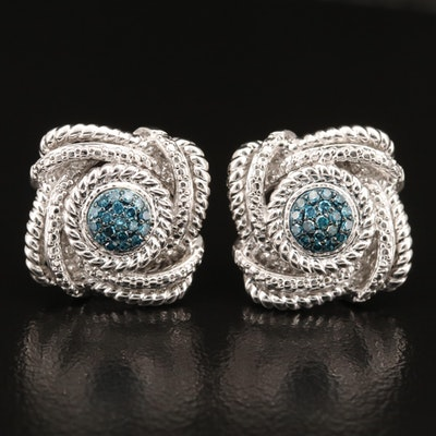 Sterling Silver Diamond Button Earrings