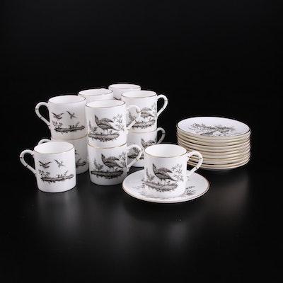 """Royal Worcester """"Pheasant Black"""" Bone China Demitasse Cups and Saucers"""