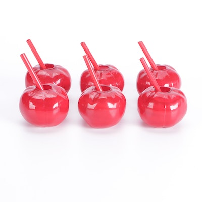 Red Art Glass Orb Cocktail Glasses with Straws, Mid to Late 20th Century
