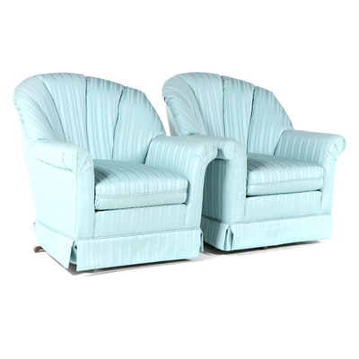 Pair of Rowe Furniture Custom-Upholstered Channel-Back Swivel-Rockers