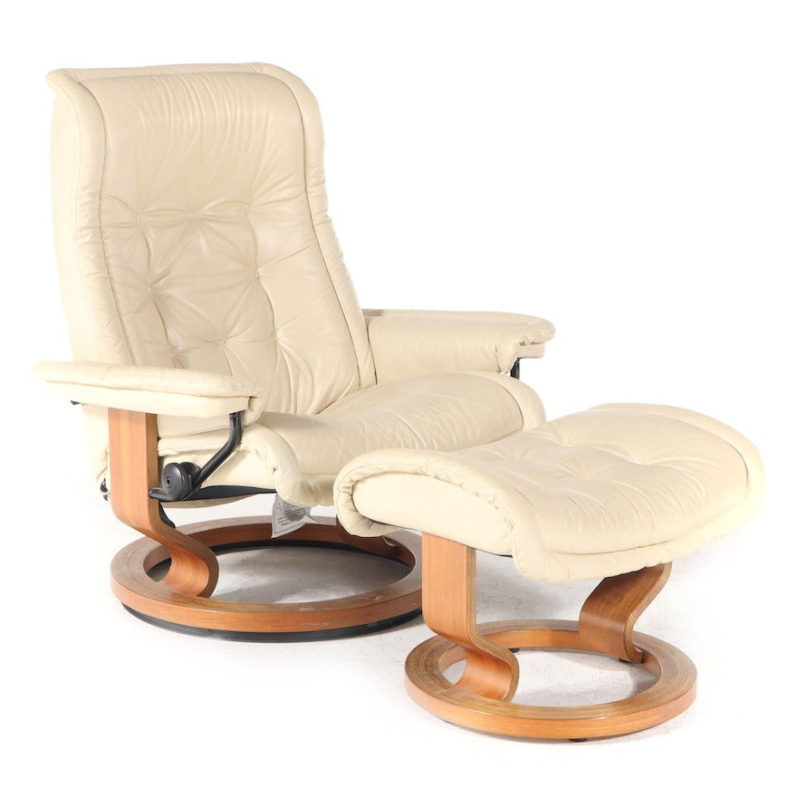 """Ekornes """"Stressless"""" Laminated Teak and Tufted Leather Recliner and Ottoman"""