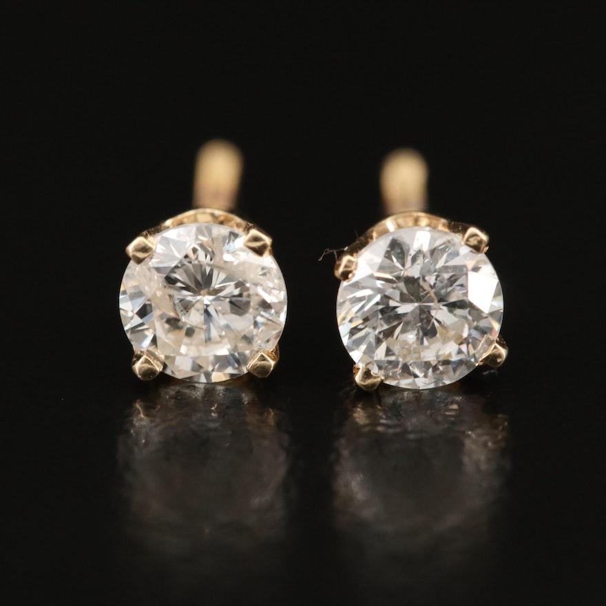 14K 0.84 CTW Diamond Stud Earrings