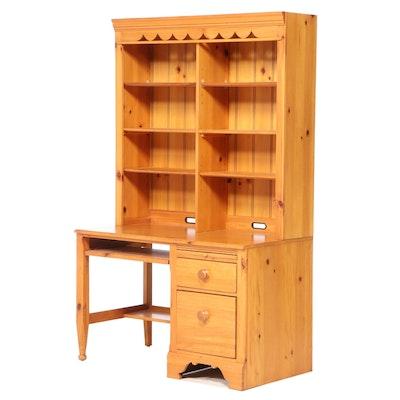 Lexington Furniture Primitive Style Pine Desk with Bookcase, Late 20th Century