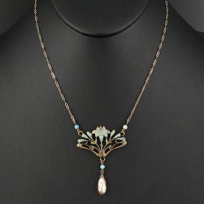 Art Nouveau Faux Pearl and Enamel Necklace