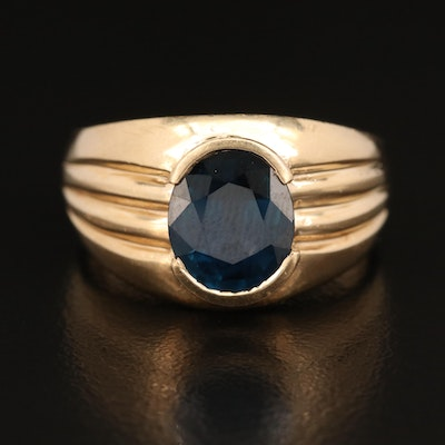 14K 2.90 CT Sapphire Ring with Fluted Detail