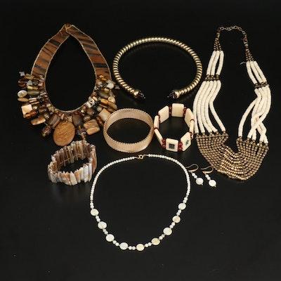 Jewelry Grouping Including Mah Jongg Tile Expandable Bracelet, Bone and Shell